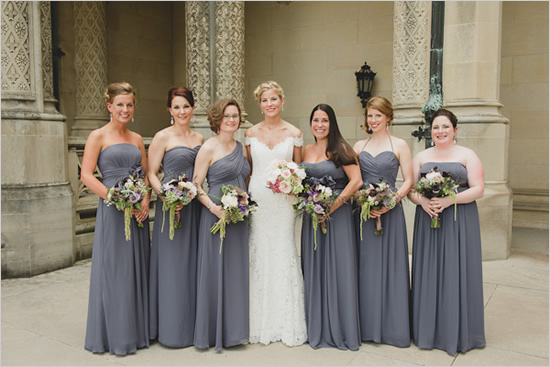 Bridesmaid Grey dresses with purple flowers pictures