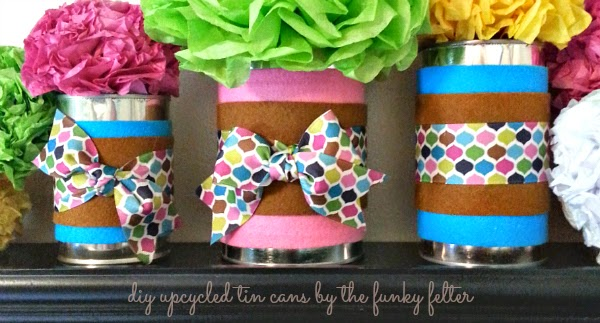 upcycled tin can felt craft centerpiece diy project