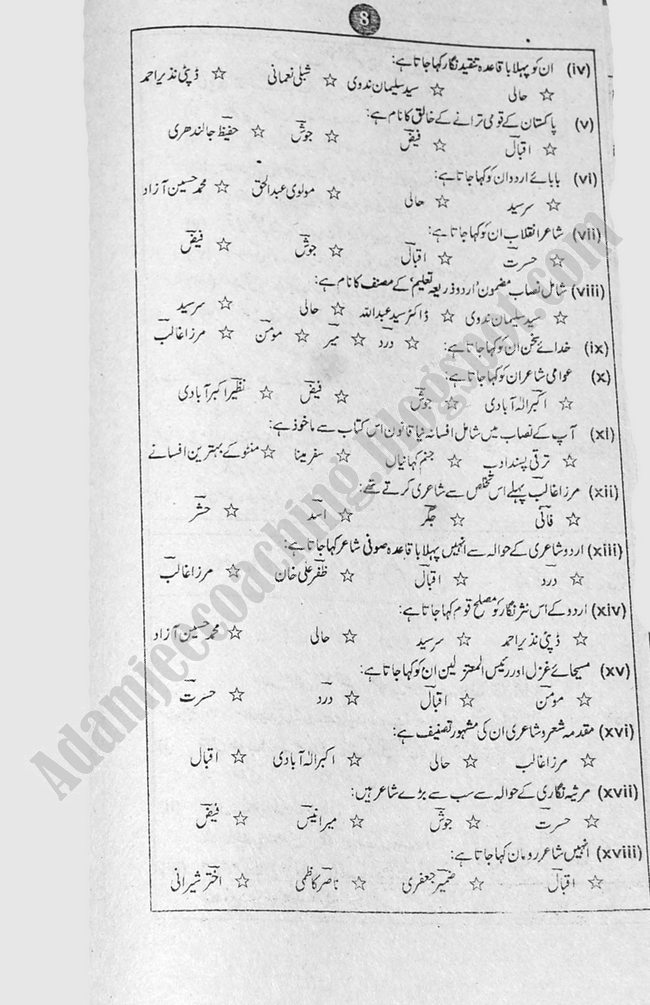 Urdu Guess Papers Commerce Group XII Class 12th 2013