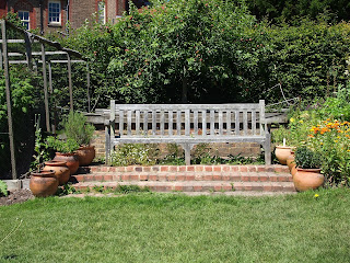 Bench on steps at Standen House, Sussex