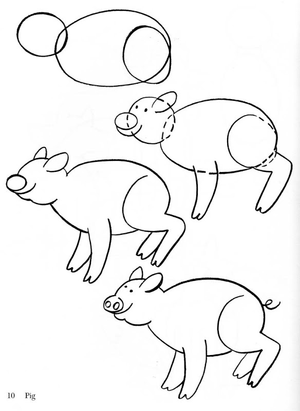 Como dibujar animales para niños Cerdito | Material para ...