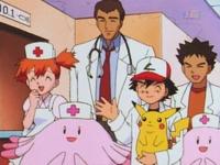 Ash y sus amigos ayudando al doctor Proctor