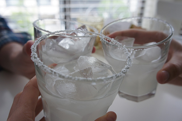 Classic margaritas on the rocks with salt