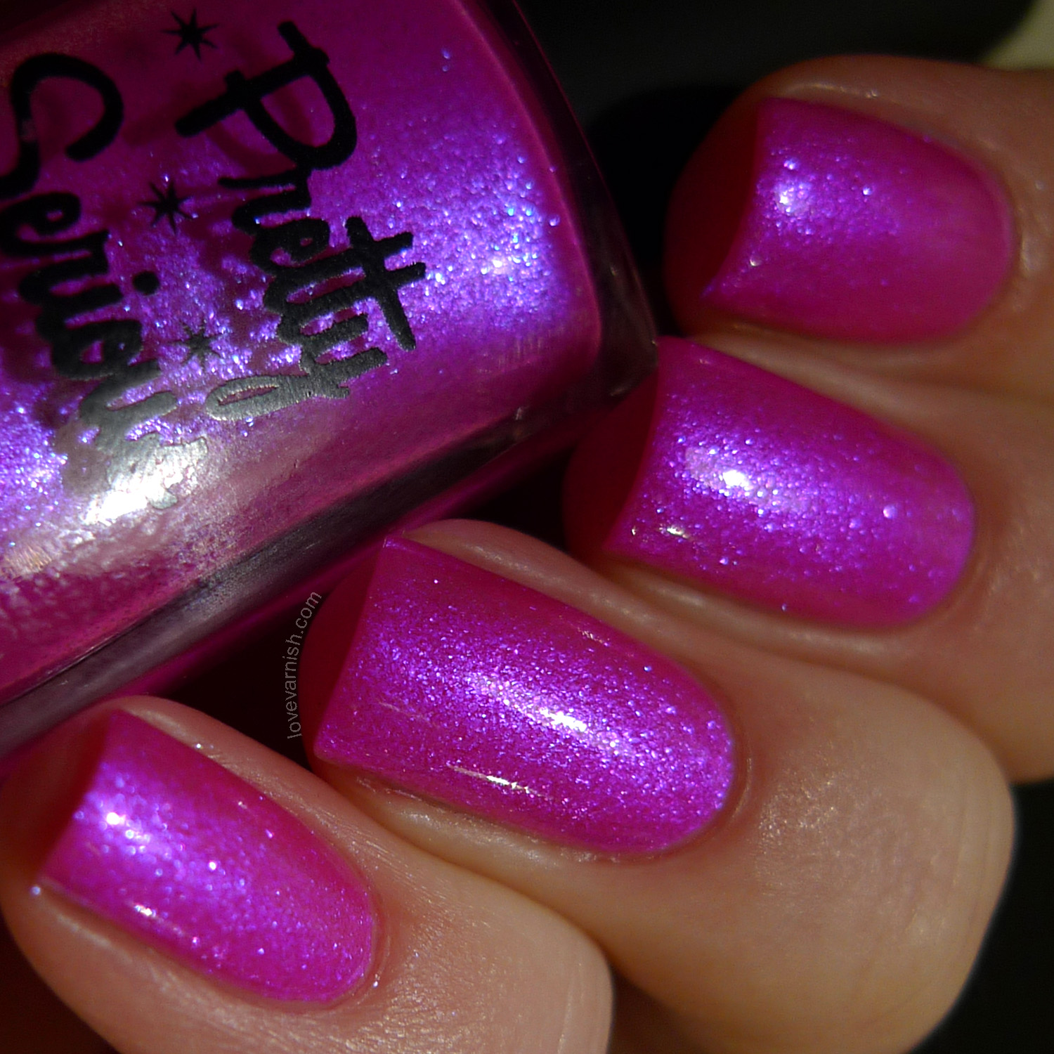 Pretty Serious Cosmetics The Pink One neon pink blue flash polish