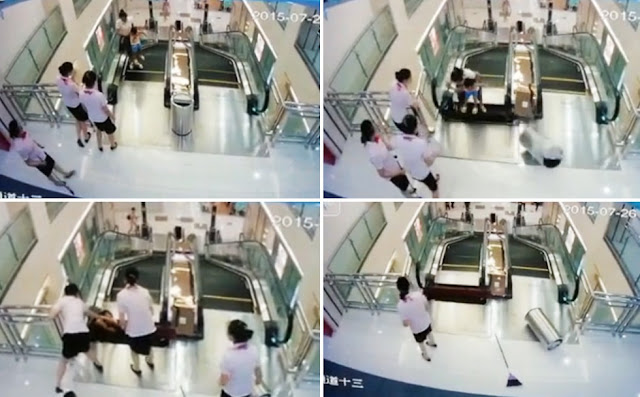Mom Gruesomely Killed By Escalator in China