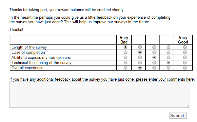 Give your feedback about the completed survey | valued opinions