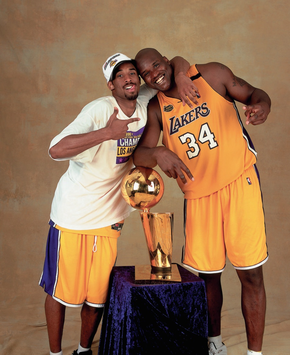 Kobe Bryant 2000 NBA Finals - Championship Trophy with Shaq - HoopsVilla
