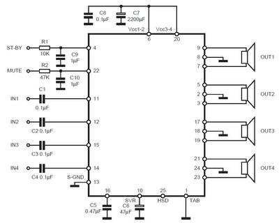 TDA7560 Audio Amplifier 4x50W