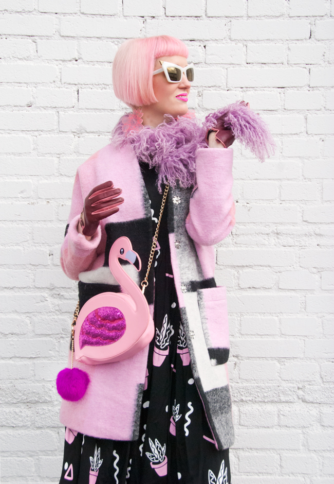 winter outfit, pink coat, flamingo bag