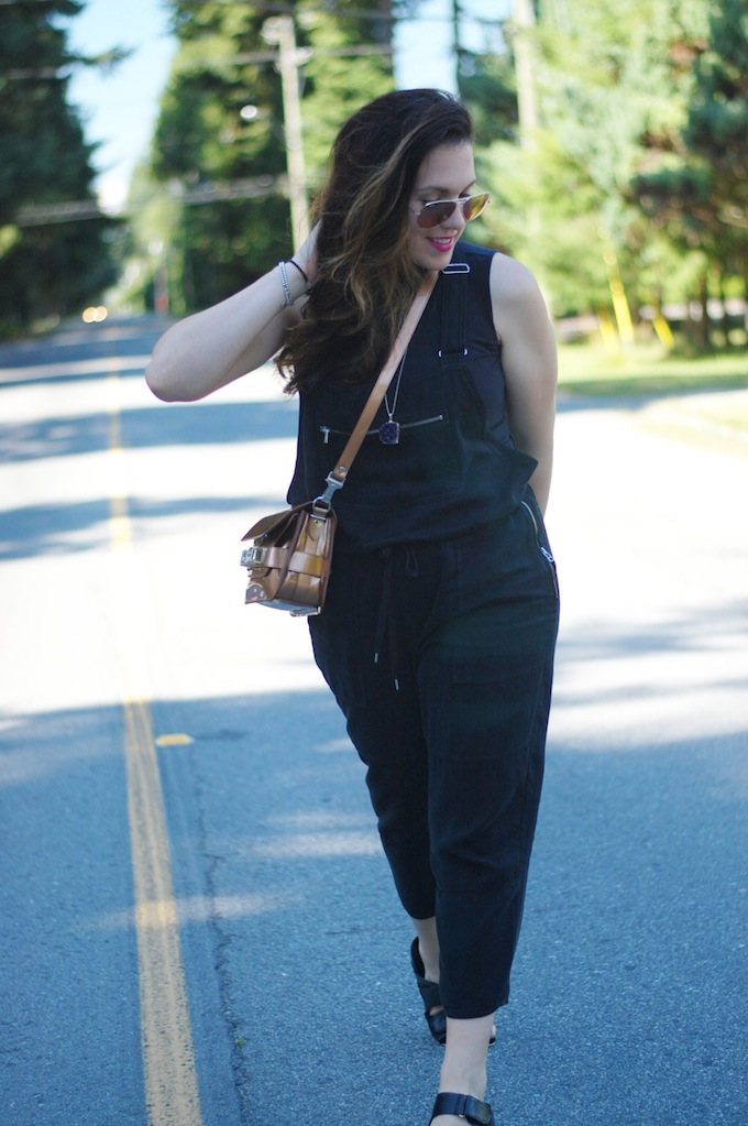 Aritzia Wilfred Free overalls, Aldo birkenstocks, bronze Proenza Schouler PS11 handbag outfit idea from Vancouver style blogger Covet and Acquire.