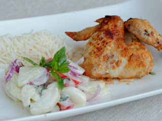 Ailes de poulet Tandoori et Raïta au concombre et tomates