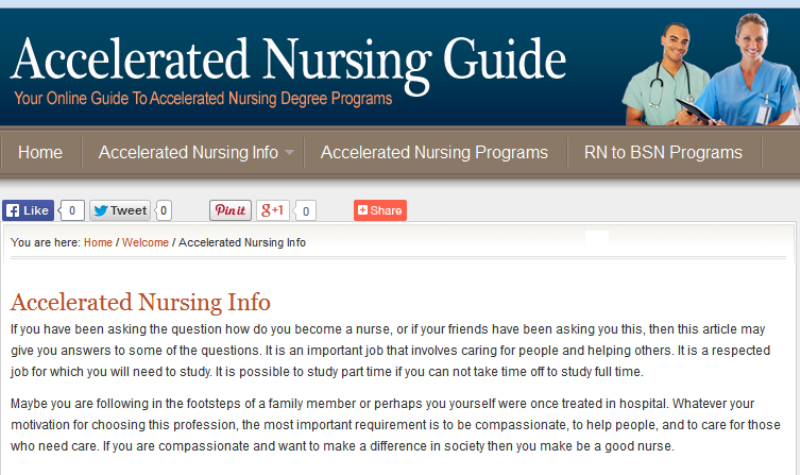 website for information about accelerated nursing programs