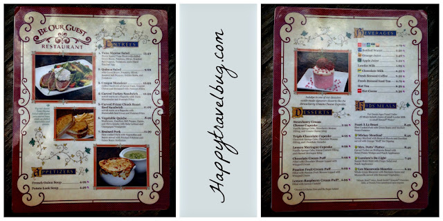 The menu at Be Our Guest Restaurant in Disney World