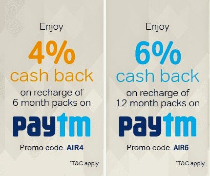Airtel Digital TV Recharge offer by PayTM