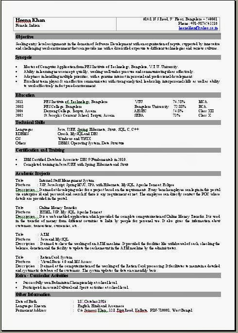 One Page Resume Examples One Page Resume Sample Resume Template For