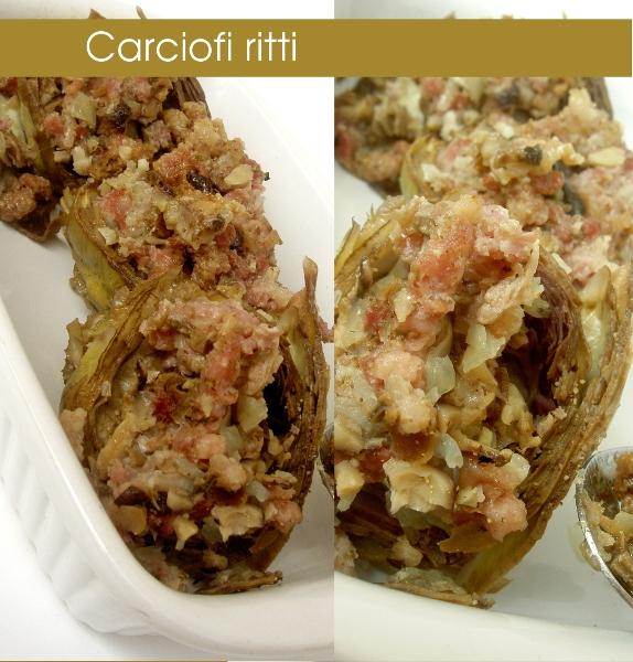 carciofi ripieni con pancetta affumicata, funghi secchi e aglio