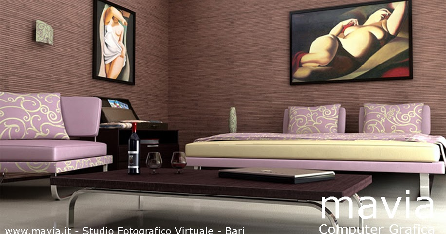 Arredamento di interni modello 3d letto matrimoniale dal design moderno e poltrone per camere - Camere da letto in pelle ...