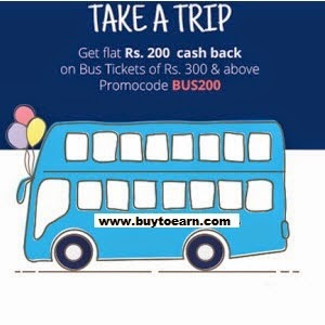 Paytm :Get Flat 140 cashback on Bus Booking  : Buy To Earn