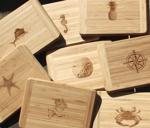 engraved coastal bamboo serving boards