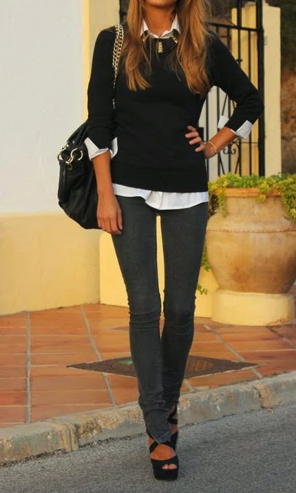 Black Shirt + Grey jeans + black hand bag + high heels