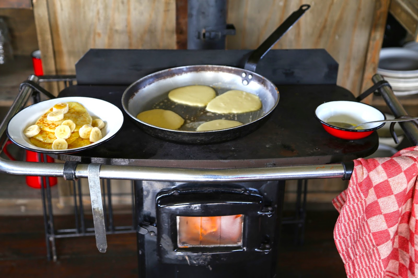 Wood stove cookery, pancakes, Feather Down farms,glamping