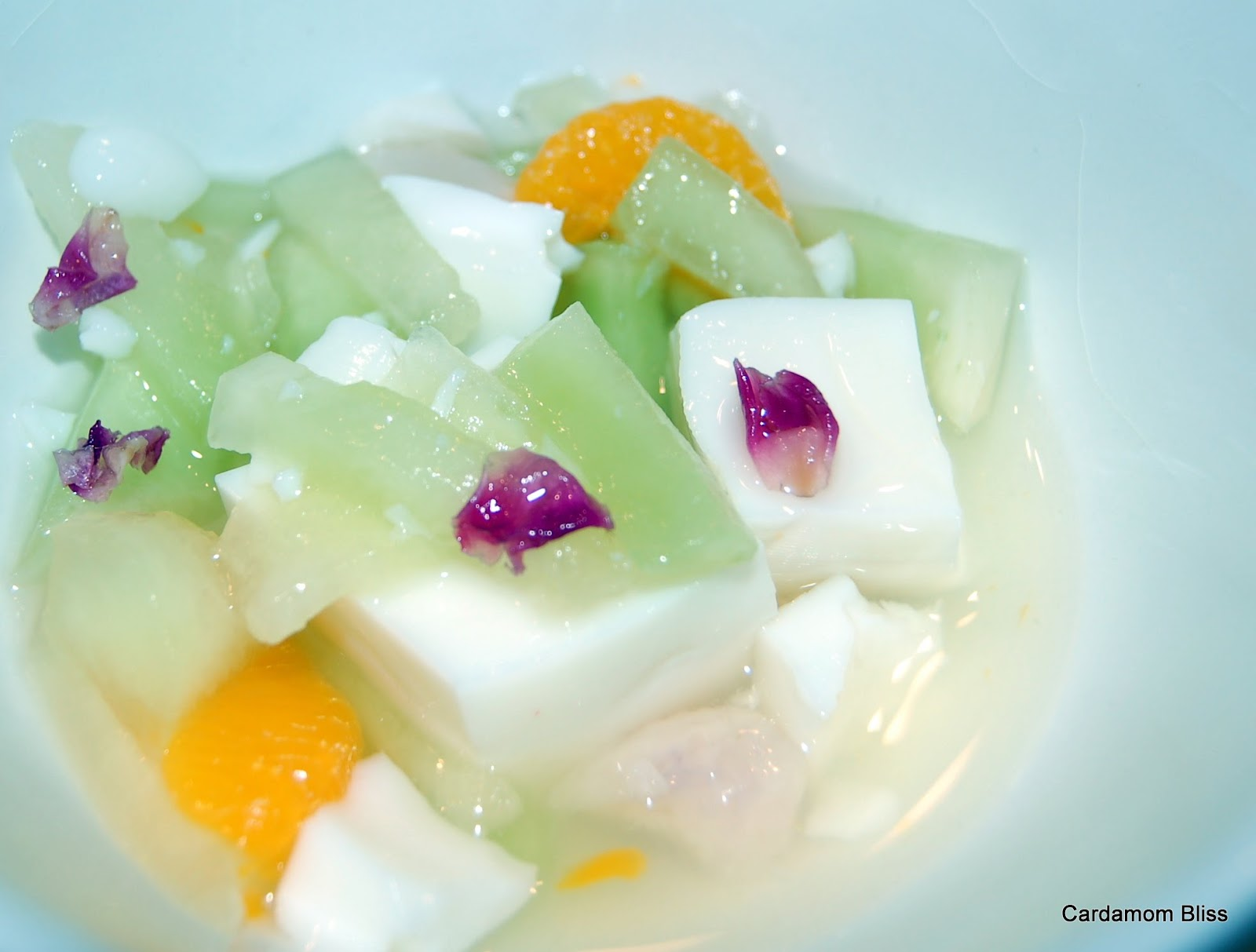 Almond Panna Cotta with Lychees, Mandarins and Honeydew