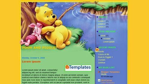Pooh & Pigglet 2 - Free Blogger Template