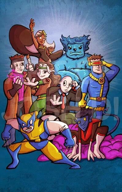 A picture of an art print of the X-Men by Marvel comics