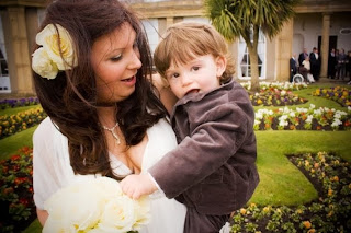 myself and Ben outside Heaton Hall on my wedding day