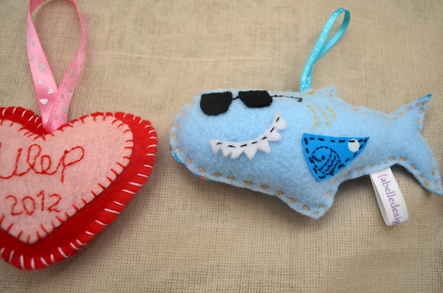 shark ornaments, adorable little Christmas ornaments, custom made Holiday ornaments, Handmade Shark ornaments
