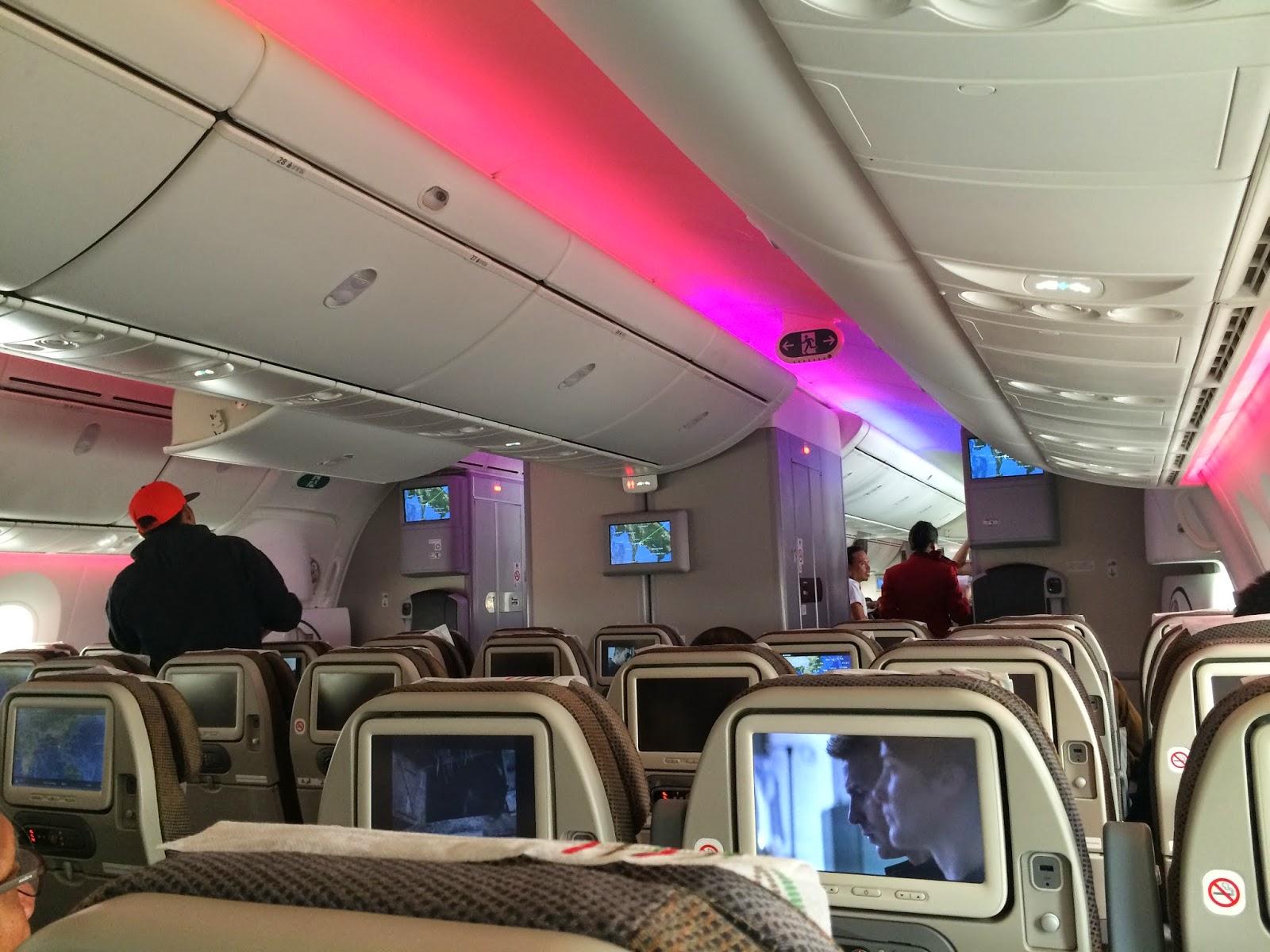 Boeing 787 interior coach viewing gallery - Charles Ryan S Flying Adventure Kenya Airways Boeing 787 Dreamliner Part 1 Bkk Hkg