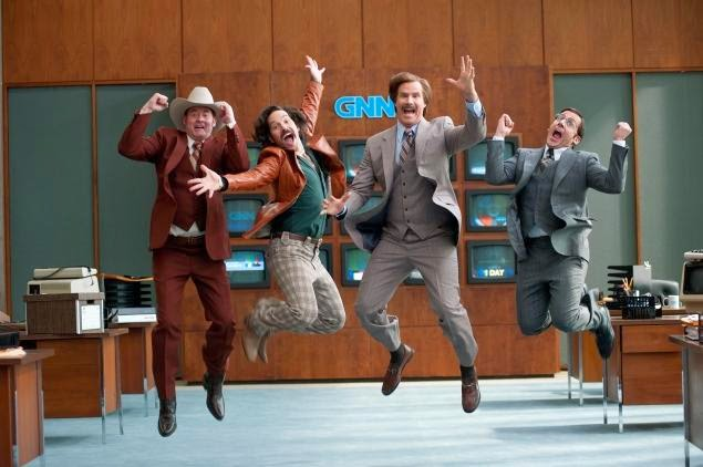 "David Koechner, Paul Rudd, Will Ferrell, and Steve Carrell in ""Anchorman 2"""