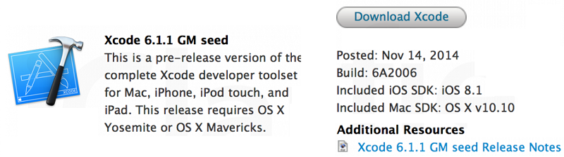 Xcode 6.1.1 GM Build-6A2006