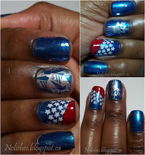 Collage of Nail stamping manicure in red white and blue with glitter, and stamped Independence Day themed designs