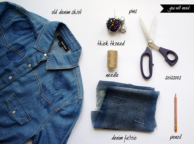 DIY Mended Denim Shirt. By Xenia Kuhn for DIY Blog www.fashionrolla.com