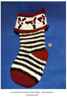 Shades of Safhire -Crocheted Christmas Stocking with Holly and Ivy