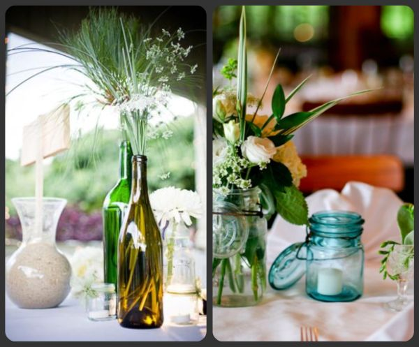 Diy glass bottle candles for a wedding for Glass bottle centerpiece ideas