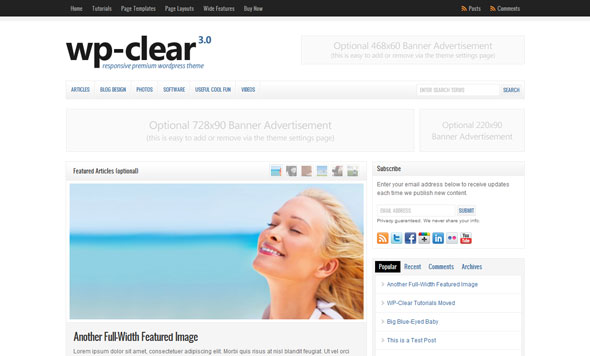 WP-Clear 3.0 Premium Magazine WordPress Theme Free Download by Solostream.