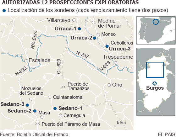 Mapa del fracking en el norte de Burgos.