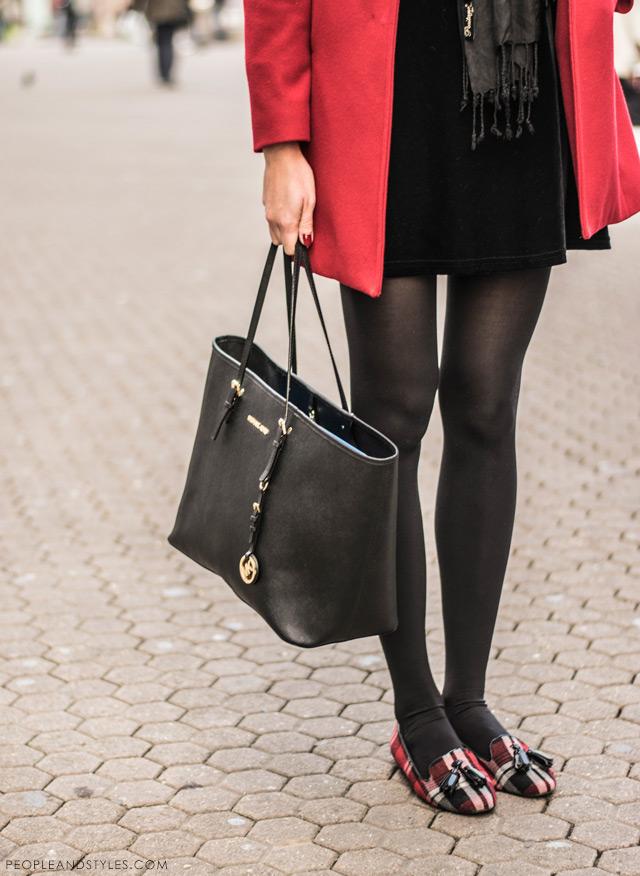 Marija Maretić, red coat, check ballerina flats, Michael Kors black tote, street style Zagreb Croatia