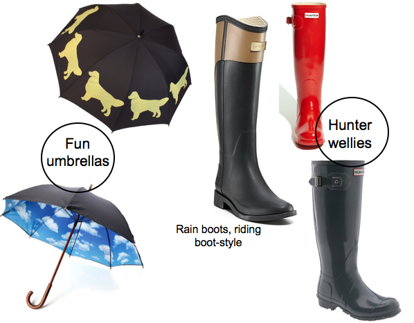 dog umbrella, cloud umbrella, riding boot rain boots, Hunter rain boots, wellies