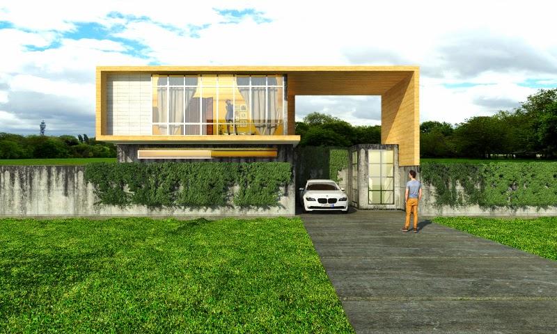 Contoh Desain Eksterior Menggunakan Sketchup dan V-Ray For Sketchup : Anterio House