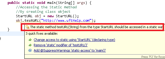 Static method warning message in Eclipse