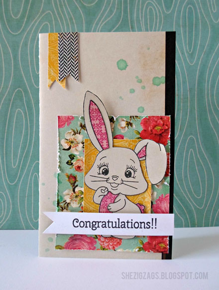 Peachy Keen Stamps Bunny Card