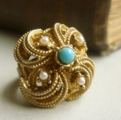 turquoise pearl cocktail ring