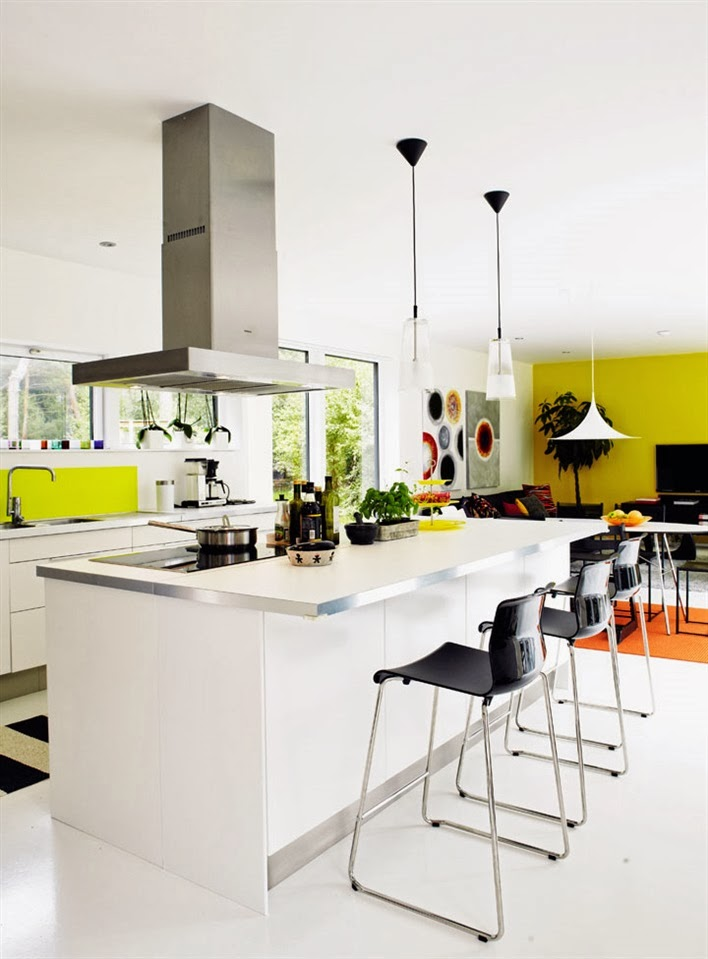 White modern open kitchen with stainless hood, pendant lights and pops of bright yellow