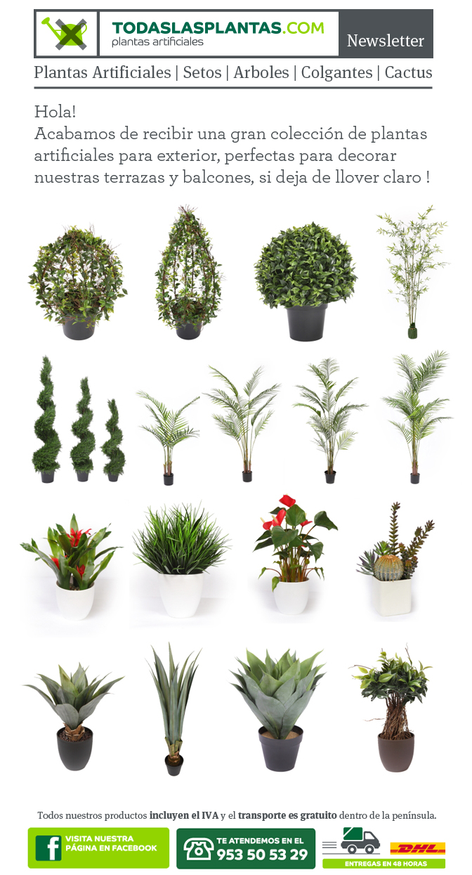 Plantas artificiales para exterior decoraci n con for Plantas artificiales decoracion
