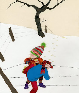 illustration by dutch artist Robert Wagt of two boys in the snow in the winter