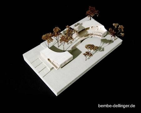Vista a vuelo de oájaro de la maqueta del proyecto de la villa alemana