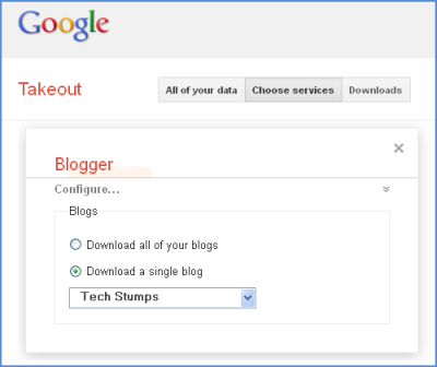 Download Blogger and Google+ Data with Google Takeout